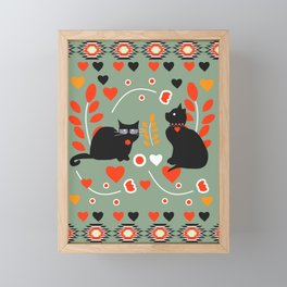 Romantic cats Framed Mini Art Print