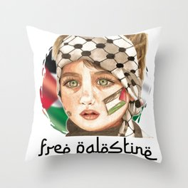 Free Palestine in watercolor Throw Pillow