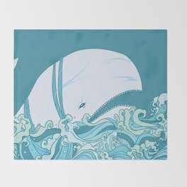 Moby Dick Illustration Throw Blanket