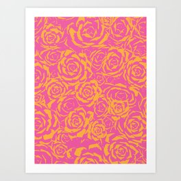 Succulent Stamp Pink & Orange #315 Art Print