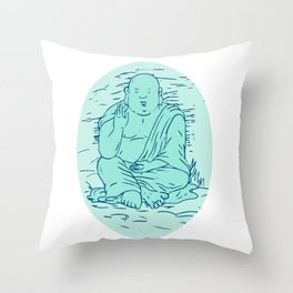 Gautama Buddha Lotus Pose Drawing Throw Pillow