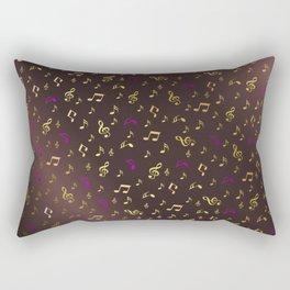 golden music in dark metal background Rectangular Pillow