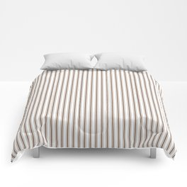 Mattress Ticking Narrow Striped Pattern in Chocolate Brown and White Comforters