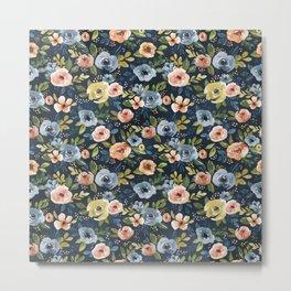Nightfall Floral Print, Watercolor Flowers, Navy Blue, Salmon Pink, Mustard Yellow Metal Print