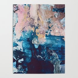Breathe Again: a vibrant mixed-media piece in blues pinks and gold by Alyssa Hamilton Art Poster