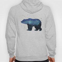 Forest Bear Silhouette Watercolor Galaxy Hoody