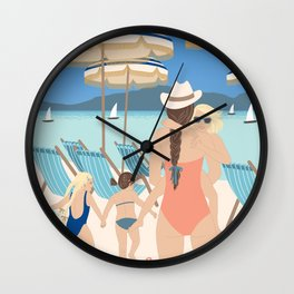 Family Beach Day Wall Clock