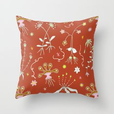 Red Flora of Planet Hinterland Throw Pillow