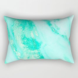 Shimmery Sea Green Turquoise Marble Metallic Rectangular Pillow