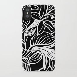 Black White Floral iPhone Case
