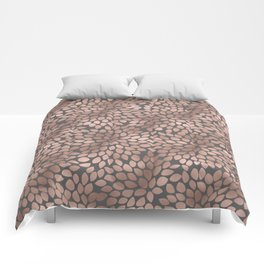 Rosegold flowers - abstract floral elegant pattern on grey background Comforters