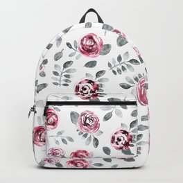 Gray pink watercolor modern leaves floral Backpack