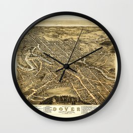 Bird's Eye View of Dover, New Hampshire (1877) Wall Clock