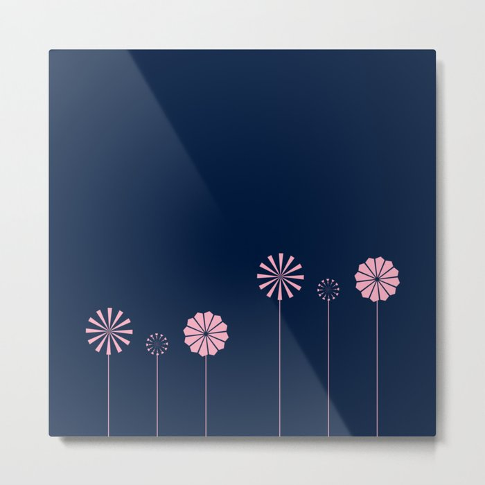 Pink Flowers at Night Pattern Metal Print