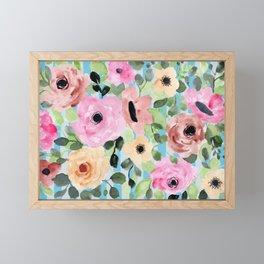 Watercolor Flowers Preppy Pastels Framed Mini Art Print