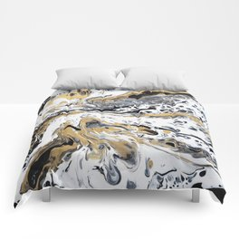 Black White and Gold Fluid Abstract Comforters