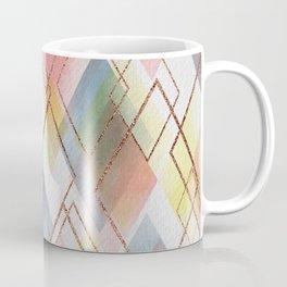 Watercolour Diamonds // Geometric diamond shapes in watercolour with rose gold metallics Coffee Mug