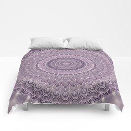 Purple feather mandala Comforters