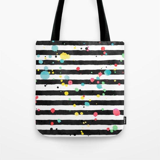 Watercolor splatters on stripes Tote Bag