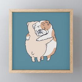 English Bulldog Hugs Framed Mini Art Print