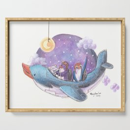 Penguin couple fly a starry purple sky in their penguin airplane! Serving Tray