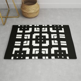 PLAZA stark black and white repeating square pattern with border Rug