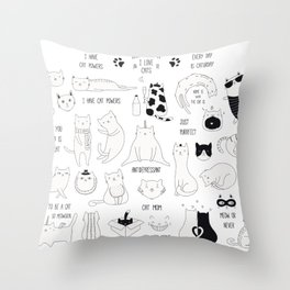 Cute Cat Doodles Cats Black and White Throw Pillow