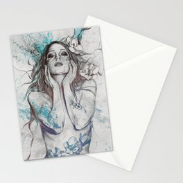 The Withering Spring I : Ice | nude tattoo woman portrait Stationery Cards