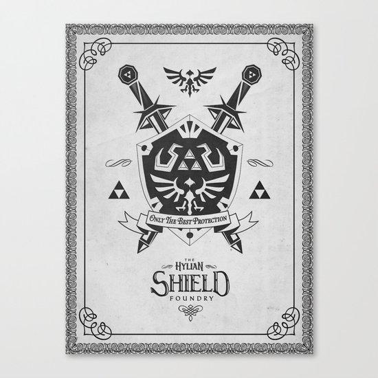 Legend of Zelda Hylian Shield Foundry logo Iconic Geek Line Artly Canvas Print