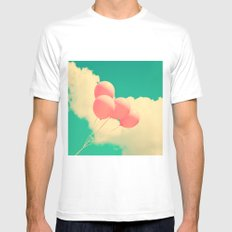 Happy Pink Balloons on retro blue sky  White MEDIUM Mens Fitted Tee