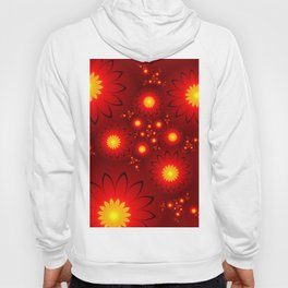 Shining Red and Yellow Flowers, Fractal Art Hoody
