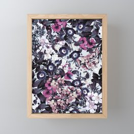 Bohemian Floral Nights Pink and Gray Framed Mini Art Print