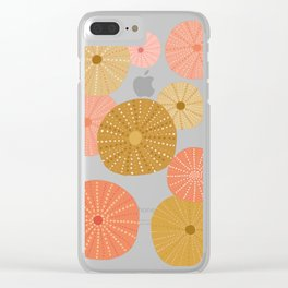 Sea Urchins in Coral + Gold Clear iPhone Case
