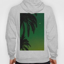 Tropical Palm Tree Silhouette Green Ombre Sunset Crescent Moon At Night Hoody