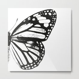Monarch Butterfly | Right Butterfly Wing | Vintage Butterflies | Black and White | Metal Print