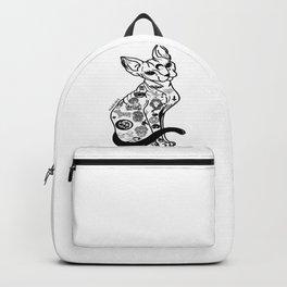 Sphynx Cat. Halloween cat. Hairless Cat. Tattooed Cat. Backpack