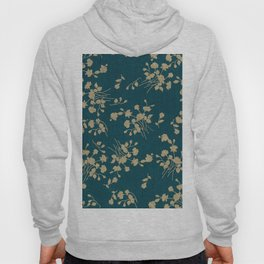 Gold Green Blue Flower Sihlouette Hoody
