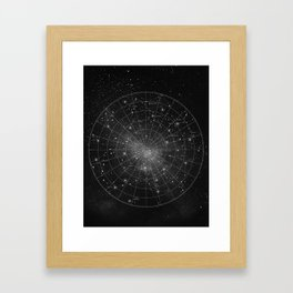 Constellation Star Map (B&W) Framed Art Print