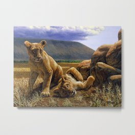 African Lion Cubs Metal Print
