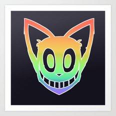 Rainbow Cat Head (white outline) Art Print