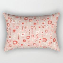 Pink Ditsy Flower Garden Rectangular Pillow