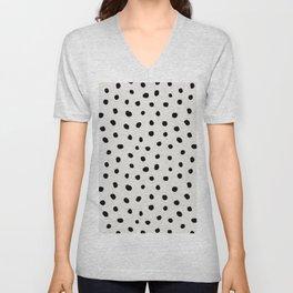 Modern Polka Dots Black on Light Gray Unisex V-Neck