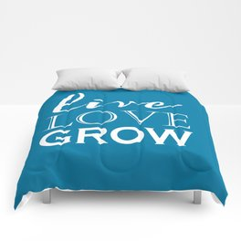 Live Love Grow - Blue and White Comforters