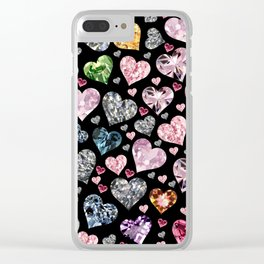 Heart Diamonds are Forever Love Black Clear iPhone Case