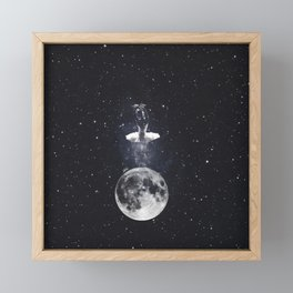 Ballerina on the moon. Framed Mini Art Print