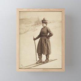 Vintage Skiing Photo Framed Mini Art Print