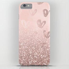 Rose Gold Sparkles on Pretty Blush Pink with Hearts iPhone Case