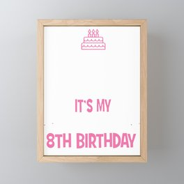 8th Unicorn Birthday girl t-shirt 8 years old party shirt Framed Mini Art Print