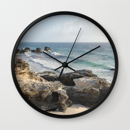 Isla Mujeres Island Mexico Caribbean Sea Geology Cliff Rocks Ocean Shoreline Seascape Beach Nautical Wall Clock