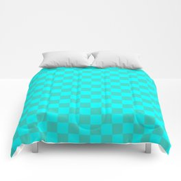 Cyan and Turquoise Checkerboard Comforters